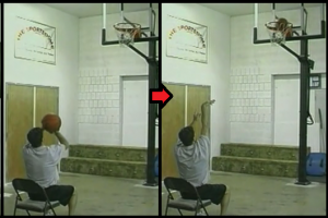 chair follow through basketball drill