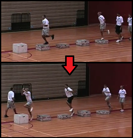 multiple box hops youth basketball drill